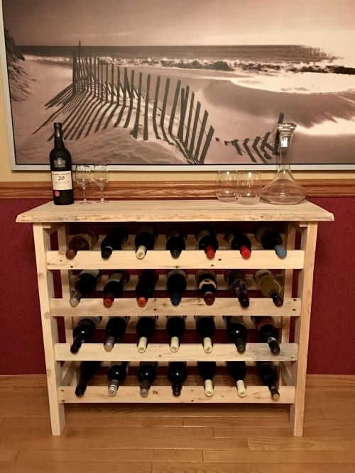 Furniture by Cask Woodworking seen at Private Residence, Edmonton, Canada, Edmonton - Reclaimed Wood Wine Rack