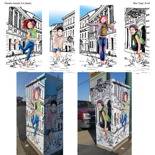 Street Murals by Kerri Warner seen at Sacramento, Sacramento - Utility Box wrap