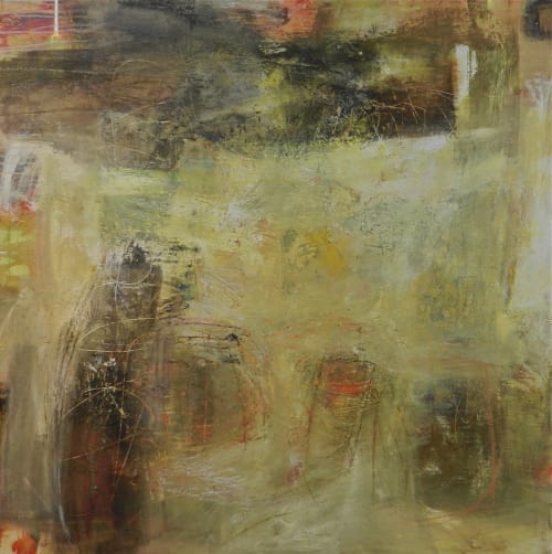 """Paintings by Ellen Rolli Contemporary Painter seen at Private Residence, Boston - """"Interactions"""", 48x48"""