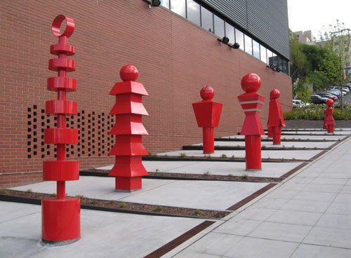 Public Sculptures by Gloria Bornstein seen at Seattle Fire Station 10, Seattle - Sentinels