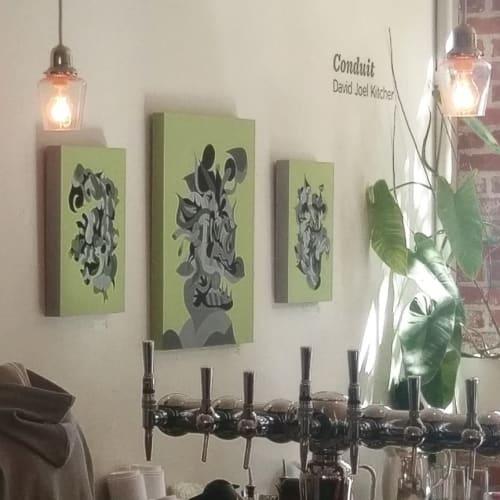 Paintings by David Joel Kitcher seen at Stumptown Coffee Roasters, Portland - Juncture, Preceptor and Strait