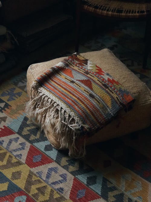 Furniture by Wayfarer seen at Private Residence, Topanga - Vintage Hemp Floor Pouf