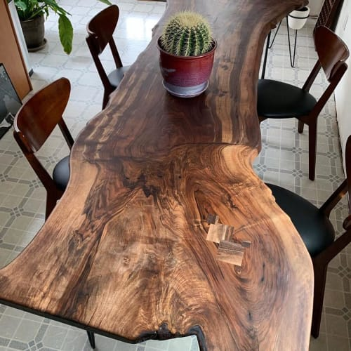 Tables by Garage Goods seen at Private Residence, Portland - Live Edge Slab Dining Table