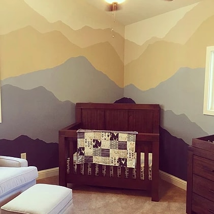 Murals by Ursula Xanthe Young seen at Private Residence, Meadow Vista - Mountain Baby Room Mural