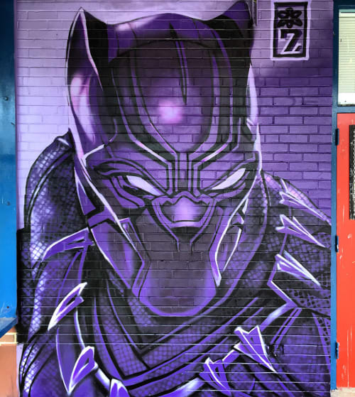 Murals by The Artist SEVEN seen at Brainerd High School, Chattanooga - Black Panther
