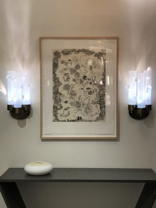 Sconces by Eidos Glass seen at Private Residence, New York - Obscura Illuminated Wall Sculpture