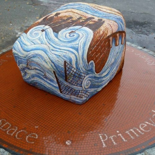 Public Mosaics by Gary Drostle – Drostle Public Arts Ltd seen at Chester, Chester - Times hand mosaic sculpture
