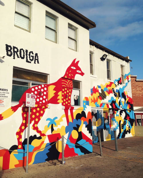 Murals by Brolga seen at Newport Hotel, Fremantle - Newport Hotel Fremantle Mural Commission