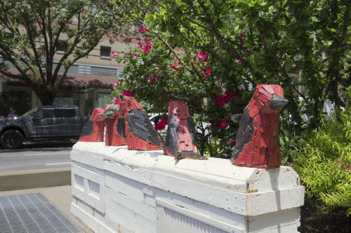 Public Sculptures by Nicolas Holiber seen at W 86 St/Broadway, New York - Scarlet Tanager