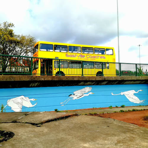 Murals by Amy Hutchings seen at Cumberland Basin, Bristol - Herons Head to the Harbour