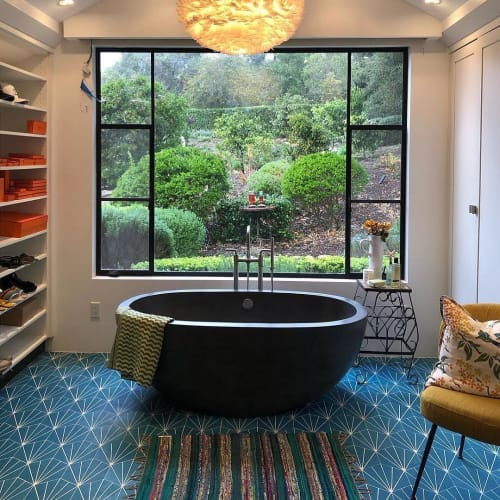 Tiles by Zia Tile seen at Private Residence, Montecito - Cobalt Blue Victory Tile
