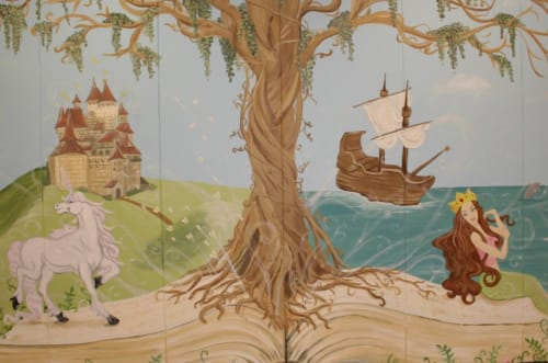 Murals by Angela Bawden seen at Utah - Elementary School Library Mural
