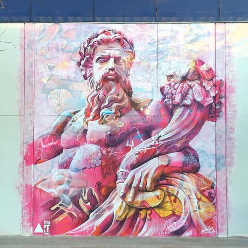 Murals by PichiAvo seen at Polytechnic University of Valencia, València - Zeus