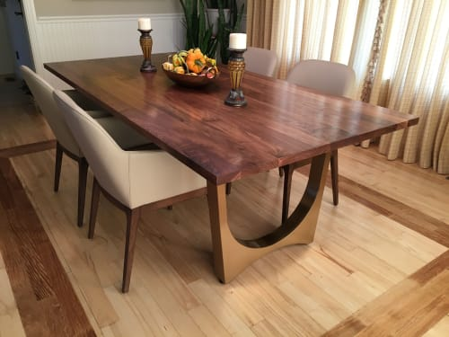 Tables by Aspen Woodshop seen at Private Residence, Littleton - Walnut + Brass Dining Table