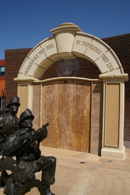 Public Sculptures by Yoshikawa seen at 1355 N Cahuenga Blvd, Los Angeles - Los Angeles Firefighters Memorial