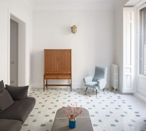 Tiles by Huguet Mallorca seen at Private Residence, Madrid - Bespoke Cement Tiles