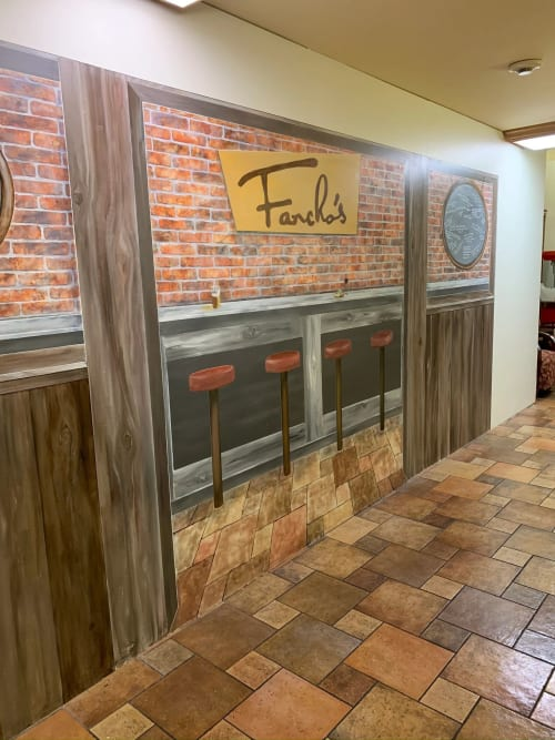 Murals by Walls by Elaine seen at The Springs at Clackamas Woods, Milwaukie - Interactive Fancho's Pub Mural