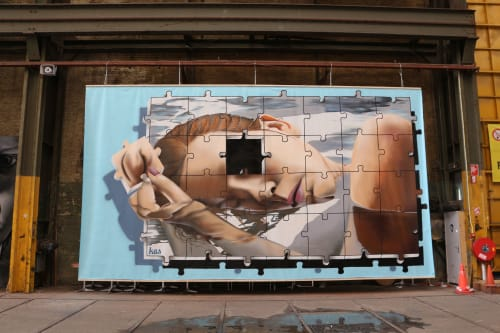 "Street Murals by MrKas seen at Amsterdam, Amsterdam - ""Sleeping beauty"""