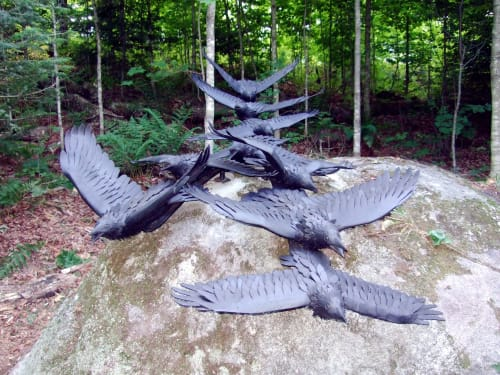 Public Sculptures by john mckinnon seen at Private Residence, Haliburton - A conspiricy of ravens