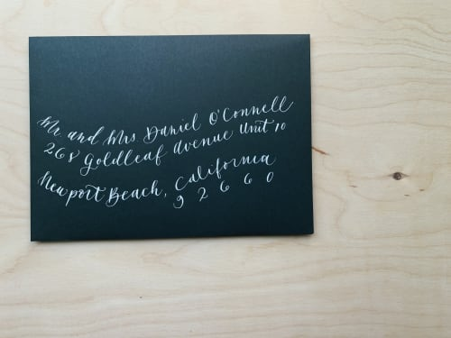 Signage by Paper Cliché seen at Private Residence, Costa Mesa - Envelope Calligraphy