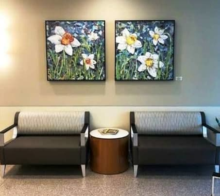 Paintings by Eileen Downes seen at Riverside Walter Reed Hospital, Gloucester - Daffodils Series
