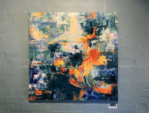 """Paintings by Shan Richards seen at Black Toast Cafe, Annandale - """"River of Golden Dreams"""""""