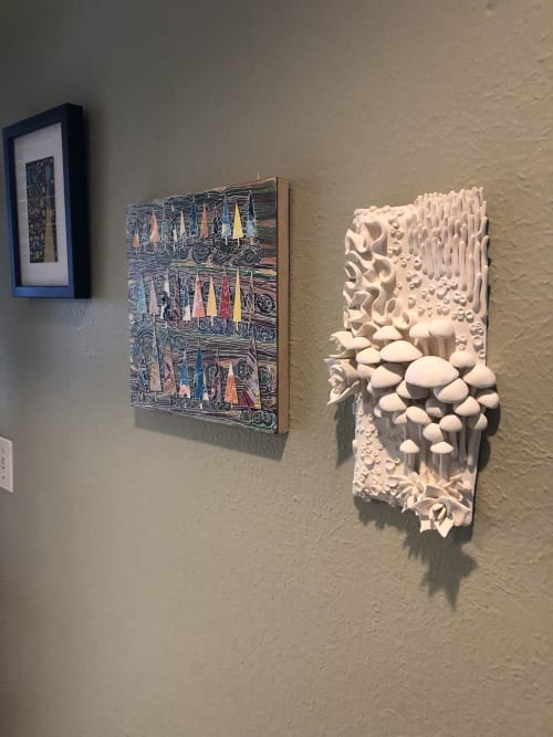 Sculptures by Katy Nickell Ceramics seen at Paseo Gallery One, Oklahoma City - Eb & Flow - Porcelain Flora Sculpture
