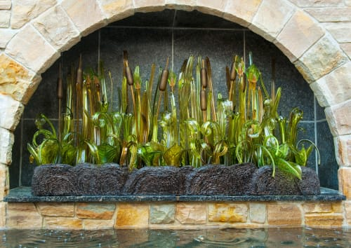 Sculptures by Clancy Designs Glass Studio seen at Private Residence, Jamestown - Alcoved Wetland Landscape