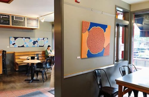 Paintings by Fiona Chinkan seen at Small World Coffee, Princeton - Joyful Burst