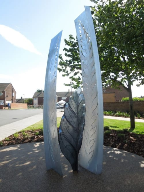 Public Sculptures by Adrian Moakes seen at Ferry Fryston, Ferry Fryston - Langdale Ferns