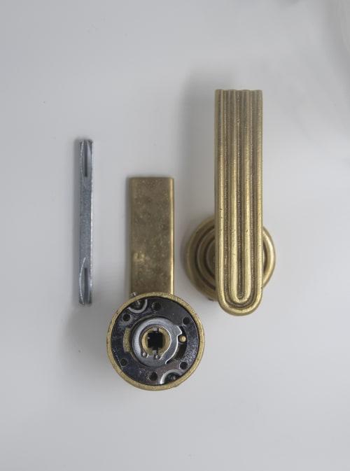 Hardware by Mi&Gei Hardware Design Studio seen at Creator's Studio, Assagao - solid brass door lever, brass door handles,  passage door