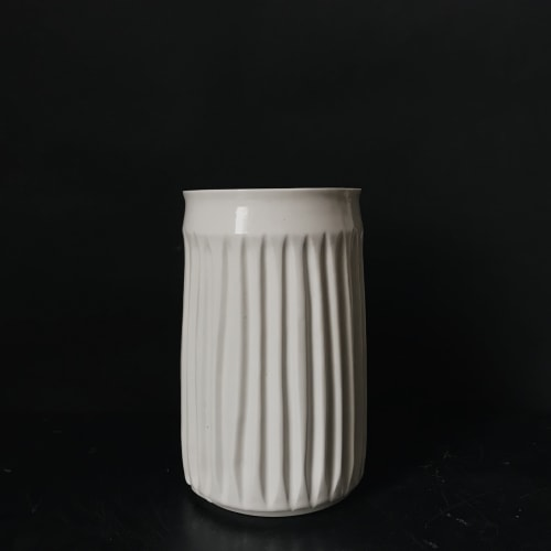 Vases & Vessels by Monsoon Pottery seen at Private Residence - West Town, Chicago, Chicago - Fluted Porcelain Cylinder Vase