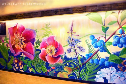 Murals by Jessilyn Brinkerhoff seen at WildCraft Cider Works, Eugene - Wildcraft