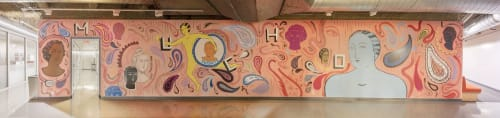 Murals by Sofia Enriquez seen at Otis College of Art and Design, Los Angeles - CUÍDATE MUCHO