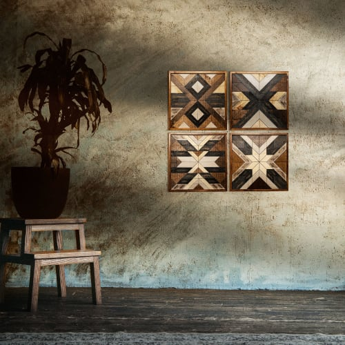 """Wall Hangings by Skal Collective seen at Creator's Studio, İzmir - """"The Four Horsemen"""" Geometric Wood Wall Art - Set of 4"""