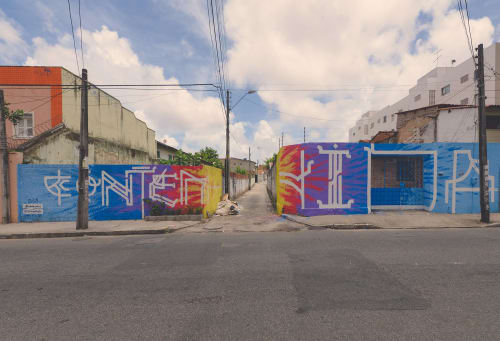 Street Murals by Ramon Sales seen at Fortaleza Beira Rio - Contains Life