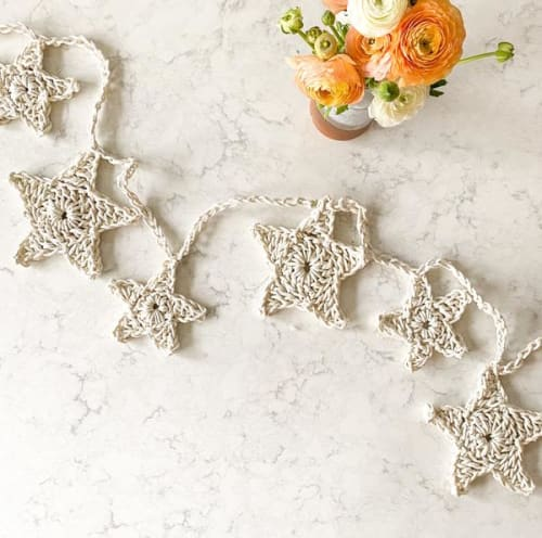 Giant Crochet Star Garland DIY KIT   Wall Hangings by Flax & Twine