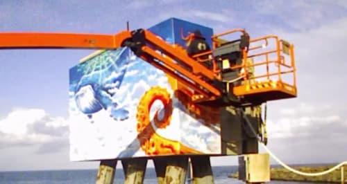 Murals by Mike Makatron seen at Searoad Ferries, Queenscliff - Aquatic Mural