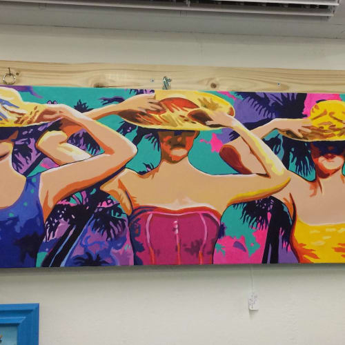 Paintings by Karen Chandler seen at The Bazaar on Apricot & Lime, Sarasota - Beach Babes
