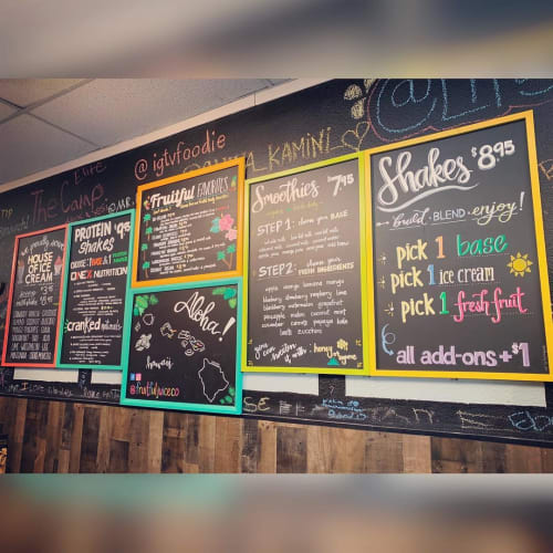 Signage by Port City Chalk seen at Fruitful Juice Company, Stockton - Chalk Board Menu