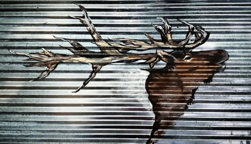 Paintings by Sweet De'sign seen at Private Residence - Elk on Corrugated steel