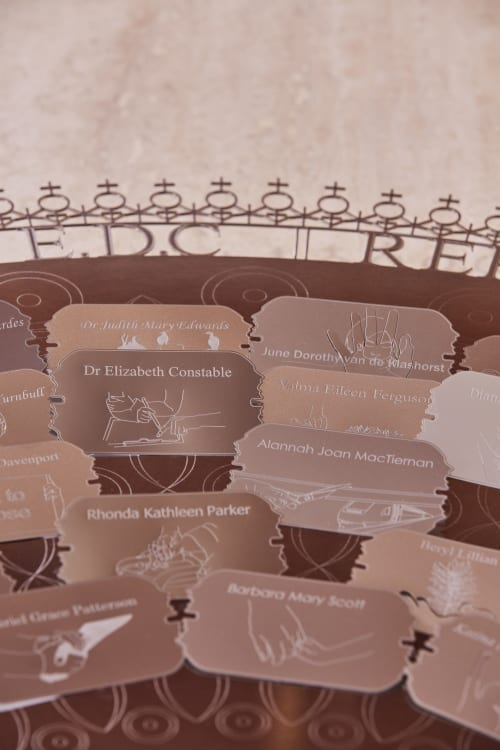 Sculptures by Forlano Design seen at Parliament of Western Australia, West Perth - Shield of Voices