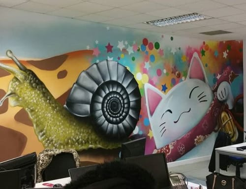 tuenti , oficinas | Murals by El ROJO... graffitero  , dedicado a dar color en lugares grises