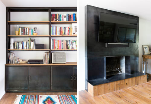 Furniture by Brian Chilton Design seen at Client Residence - Austin, Texas, Austin - Steel & Wood Bookcase/Fireplace