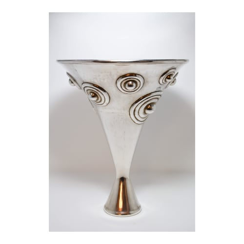 Vases & Vessels by Graziella Laffi seen at Private Residence, San Diego - Silver Hollow Vase w/ Circles