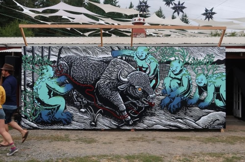 Street Murals by Kill Choy seen at Pendarvis Farm, Happy Valley - Unbound
