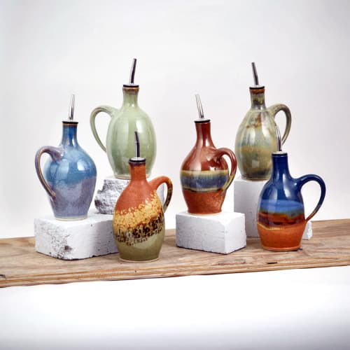 Tableware by Sunset Canyon Pottery at Sunset Canyon Pottery, Burnet Road, Austin, TX, United States, Austin - Oil Bottles