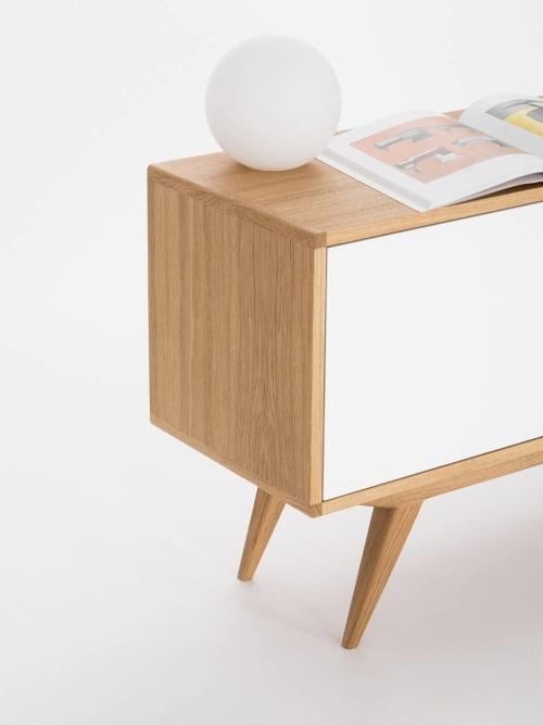 Furniture by Mo Woodwork seen at Stalowa Wola, Stalowa Wola - Mid century modern sideboard, retro console cabinet, white credenza