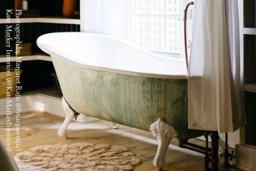 """Water Fixtures by WatermarkFixtures seen at Private Residence, Crowley - Single Slipper 67"""" Cast Iron Clawfoot Bathtub Monet Green Trompe L'Oeil Antiqued Finish"""