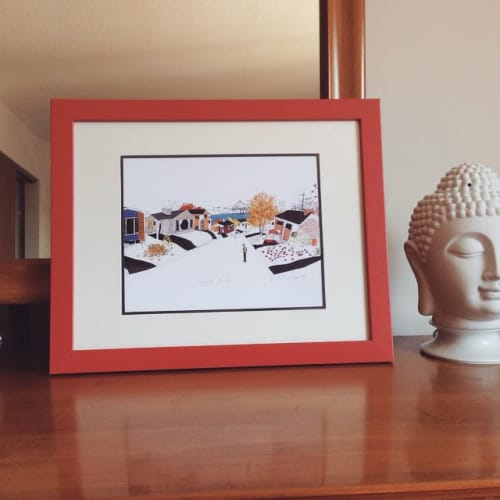 "Paintings by Emma FitzGerald seen at Private Residence, Victoria - ""Neighborhood"" Art Print"
